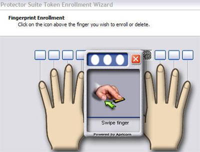 Fingerprint enrollment is a matter of three swipes and a dialog box.