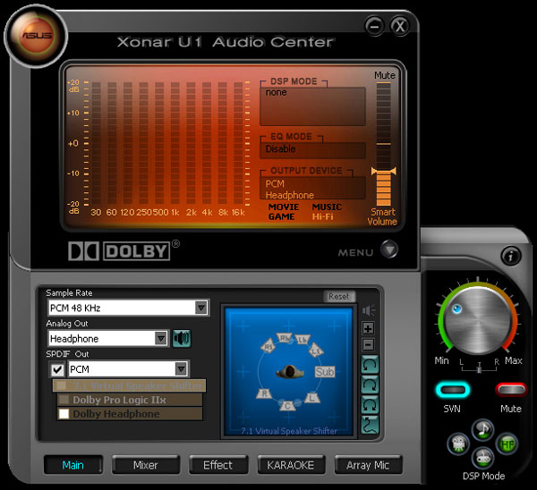 The front tab of the Audio Center, showing a few of the capabilities of the unit.