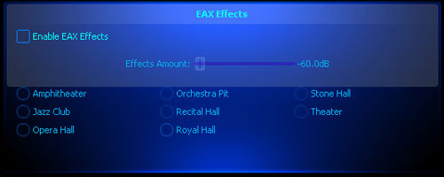 A list of EAX effect settings.