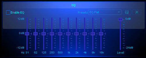 A list of equalizer settings.