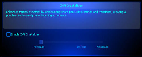 Enabling X-Fi Crystalizer.