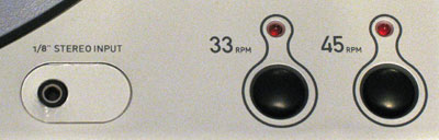 Switch record speeds with the 33 and 45 rpm buttons, or plug in a tape deck via the 1/8 inch input.