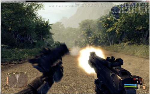 Intensive on-screen action in Crysis...
