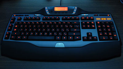 The G15 gaming keyboard with backlight on.