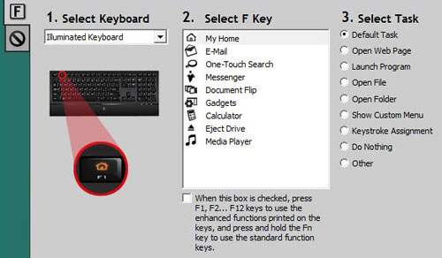 The SetPoint software suite allows you to re-map function keys to other uses including launching your favorite game or starting your MP3 library play-list or simply re-order the standard functions.