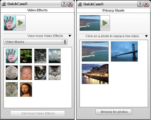 Video effect selection pop-out on the left; privacy shade pop-out on the right.
