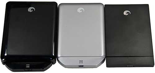 From left to right: 1.5TB GoFlex, 500GB GoFlex Portable, Slim 320GB.